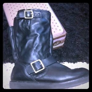 Coach Leather Moto Boots